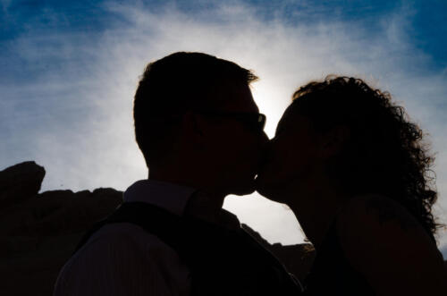 Photographers of Las Vegas - Wedding Photography - wedding couple in the sun at valley of fire