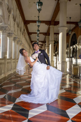 Photographers of Las Vegas - Wedding Photography - couple just married posed photos a Venetian